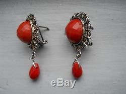 Antique/Vintage Genuine Faceted Coral Large Earrings- Sterling- Exceptional