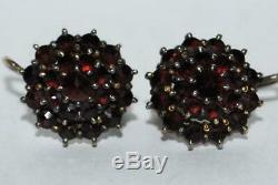 Antique Vintage Gilt Sterling Silver 900 German Bohemian Garnet Jewelry Earrings
