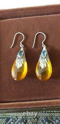 Antique Vintage Late Edwardian Sterling Silver Blue Topaz and Amber Earrings