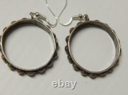 Antique / Vintage Mexican Sterling Silver Colonial Dsgn Earrings Old + Sgnd Ms