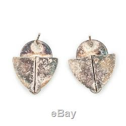 Antique Vintage Mid Century Modern Sterling Silver Mother of Pearl Onyx Earrings