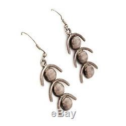 Antique Vintage Mid Century Modern Sterling Silver Womens HUGE 2.22 L Earrings