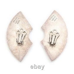Antique Vintage Mid Century Sterling 925 Silver Modernist Mexican TAXCO Earrings