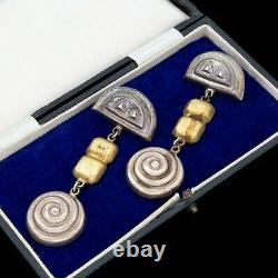 Antique Vintage Mid Century Sterling Silver Mexican TAXCO Cluster Earrings 21.1g