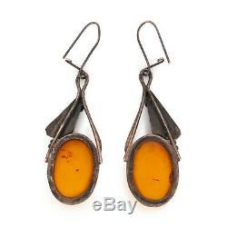 Antique Vintage Nouveau 835 Sterling Silver Jugendstil Amber 2.36 L Earrings