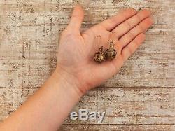 Antique Vintage Nouveau Sterling Silver Gold Etruscan Pomander Dangle Earrings