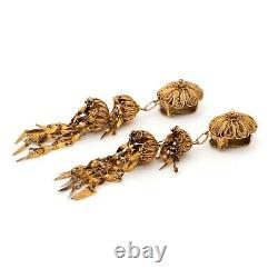 Antique Vintage Nouveau Sterling Silver Gold Wash Filigree Dangle Earrings 9.4g