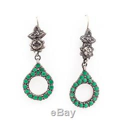 Antique Vintage Nouveau Sterling Silver Mughal India Turquoise 2.38 L Earrings