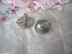 Antique Vintage Sterling Silver Earrings Cat's Eye Operculum Shell Ear Rings