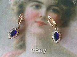 Antique Vintage Sterling Silver Gold Earrings Blue White Sapphires Ear Rings