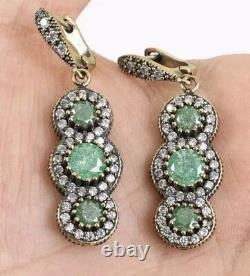 Antique Vintage Sterling Silver Green Quartz Drop Dangle Earrings