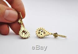Antique Vtg 1.5 long Bohemian 14k Gold & Sterling Rose Cut Garnet drop Earrings