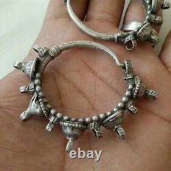 Antique ottoman Bedouin Yemeni sterling silver earrings RARE more 65gram