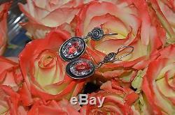 Antique vintage Russian Soviet Earrings Sterling SILVER 875 Genuine Rock Crystal