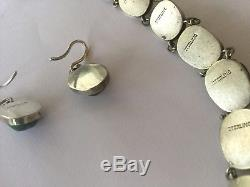 Antique vintage genuine natural Scarab Beetle Sterling Silver Necklace Earrings