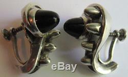 Antonio Pineda Vintage Modernist Mexico Sterling Silver & Onyx Earrings