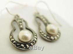 Art Deco 1930's Sterling Silver Marcasite Earrings pierced ears #3