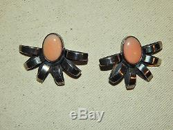Art Deco Sterling Silver and Angel Skin Coral Earrings, Vintage
