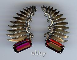 Art Deco Vintage Gold Wash Sterling Silver Faceted Ruby Glass Clip Earrings