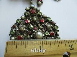 Austro Hungarian Jewelry Necklace earrings set Vintage Silver Enamel pearl W. M