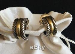 Authentic Vintage David Yurman 18kt/sterling huggie cable post earrings Withpouch