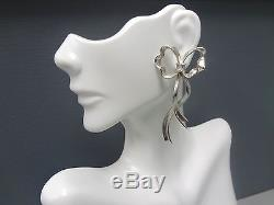 Authentic Vintage Tiffany & Co. Bow Ribbon Sterling Silver Earrings 2.25 Large