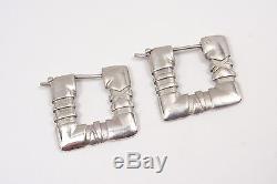Authentic Vintage Tiffany & Co Sterling Silver Atlas Square Hoop Earrings