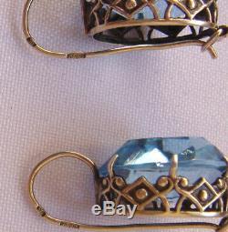 Azure Blu Stones Earrings Sterling Silver 925 Soviet Star Russian Vintage