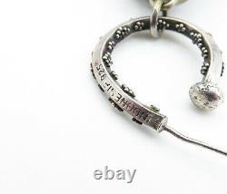 BALI 925 Sterling Silver Vintage Ornate Patterned Hollow Drop Earrings E8892
