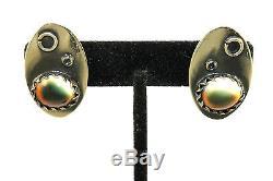 BIG 1+ Vintage 1950s STUDIO Modernist Sterling Silver Gemstone Clip On Earrings