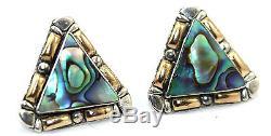 BIG & GORGEOUS Vtg STUDIO Modernist 18k GOLD Sterling Silver ABALONE Earrings