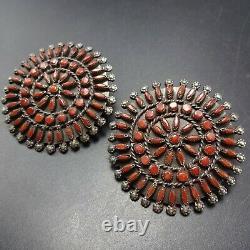BIG ROUND Vintage ZUNI Sterling Silver CORAL Snake Eye Petit Point EARRINGS