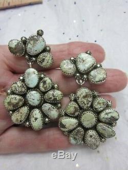 BIG Vintage NAVAJO PP Sterling Silver 2.25 DRY CREEK TURQUOISE Dangle Earrings