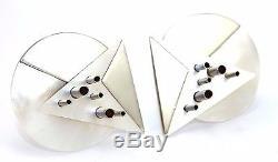 BIG Vtg 1980s Modernist MOTHER OF PEARL Sterling Silver 3D SCULPTURE Earrings