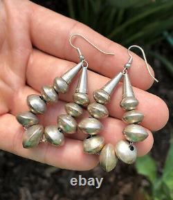 BIG Vtg PAWN Sterling Silver Navajo Handmade Bench BEAD Pearl Dangle Earrings