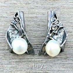 BRUTALIST Sterling Silver PEARL Modernist 925 Handmade Earrings Vintage SIGNED