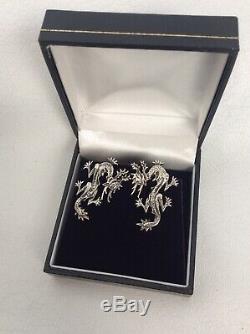 Beautiful Rare Vtg Mings Honolulu sterling Silver 925 Dragon Screw On earrings