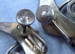Beautiful Vintage Modernist Sterling & Moonstone Earrings