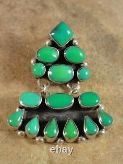 Beautiful Vintage Navajo Sterling Silver & Carico Lake Turquoise Earrings