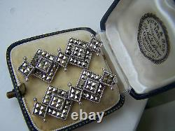 Beautiful Vintage Solid Sterling Silver Marcasite Pendant Dangle Earrings Rare