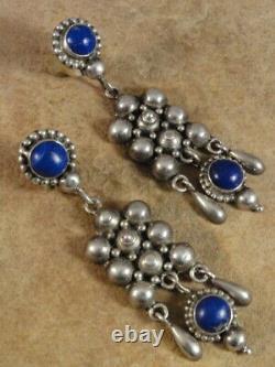 Beautiful Vintage Sterling Silver & Lapis Earrings