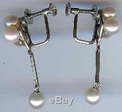 Beautiful Vintage Sterling Silver Multi Pearl Screwback Dangle Earrings