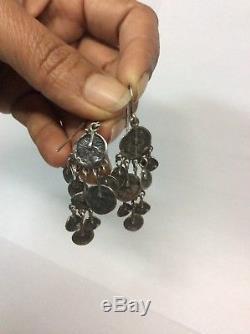 Beautiful Vtg Artisan Modernist Brutalist Sterling silver 925 Wire Earrings
