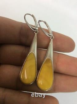 Beautiful Vtg Modernist sterling silver 925 Egg Yolk Amber earrings