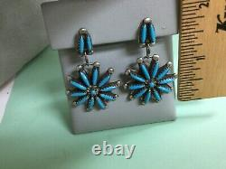 Beautiful Vtg. Zuni Sterling Silver Turquoise Needlepoint Post Dangle Earrings