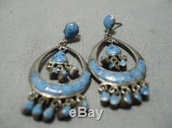 Best Vintage Zuni Navajo Lapis Inlay Sterling Silver Chandelier Earrings Old