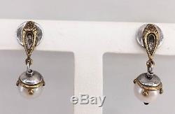 Beth Orduna Vintage Pearl Earrings Sterling & Gold