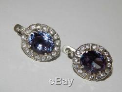 Big Alexandrite Vintage Soviet Russian Sterling Silver 875 Ear Woman Earrings