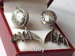 Big Antique Soviet Russian Bat Earrings Sterling Silver 925 Women's Jewelry Rare