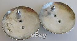 Big Vintage Tabra Signed Sterling Silver Moon Face Pierced Earrings